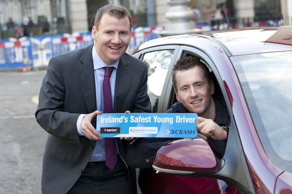 Young driver and rising GAA star Cillian O'Conor takes to the wheel in support of Ireland's first 'Safest Young Driver' competition. Cillian is pictured with Tony McKeown, Sales and Marketing Director at leading accident services provider CRASH, which is behind the initiative.